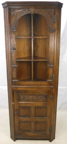 Corner Cupboard Standing Jacobean Style Oak Full Height Corner Cupboard by Reprodux